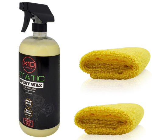 Express Spray Wax High gloss one-step liquid polymer wax. A liquid that contains silicone, removes light dirt and grease, produces gloss and provides moderate protection. An easy to use liquid that leaves no residue and provides durability. Unique blend of solvents and polymers that clean, polish and protect in one easy application. > Polymer wax > contains silicone > Highest grade natural carnauba > Powder free > Concentrate > High gloss > Made in Califoria USA Includes: 32oz bottle of spray wax 2X microfiber towels